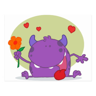 Monster with a flower postcard