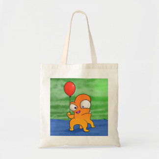 Monster with balloon, tote bag
