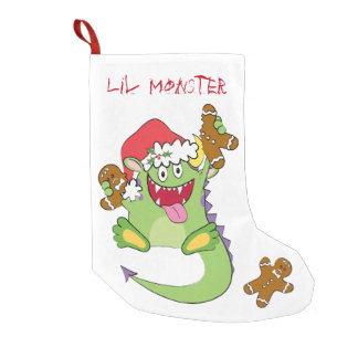 Monster with Gingerbread Man Small Christmas Stocking