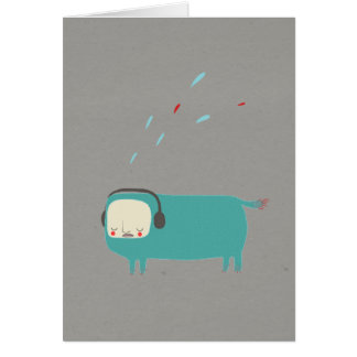 Monster with headphones quirky blue monster card