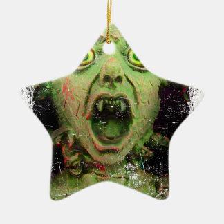 Monster Zombie Green Creepy Horror Ceramic Star Ornament