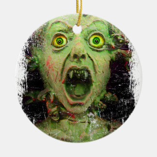 Monster Zombie Green Creepy Horror Round Ceramic Ornament