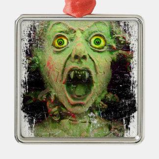 Monster Zombie Green Creepy Horror Silver-Colored Square Ornament