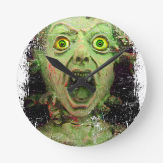 Monster Zombie Green Creepy Horror Wallclocks