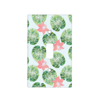 Monstera and Pink Light Switch Cover