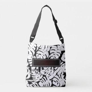 Monstera B&W Add Name Crossbody Bag
