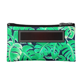 Monstera Green Add Name Makeup Bag