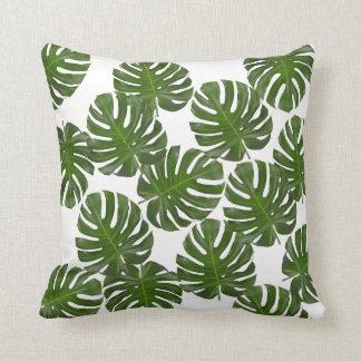 Monstera Leaf Print Throw Pillow
