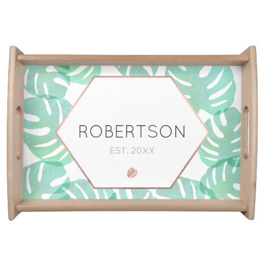 Monstera Leaf & Rose Gold Serving Tray