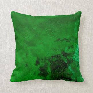 Monstera Leaf Tropical Green Emerald Green Glass Throw Pillow