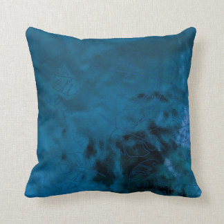 Monstera Leaf Tropical Metallic Glass Blue Aqua Throw Pillow