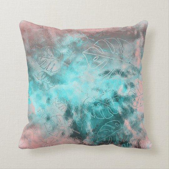 Monstera Leaf Tropical Metallic Glass Pink Aqua Throw Pillow
