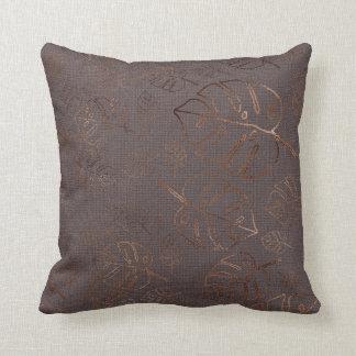 Monstera Leaf Tropical Plum Gold Copper Throw Pillow