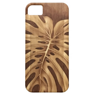 Monstera Leaf Wood Stain Art iPhone 5 Case