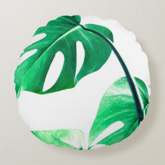 Monstera leaves tropical palm watercolor pillow