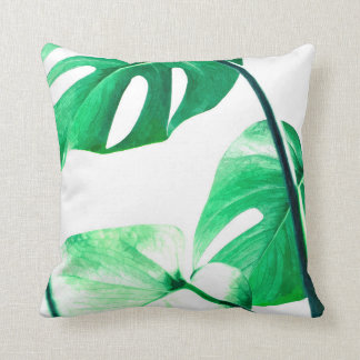 Monstera leaves tropical palm watercolor throw pillow