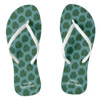Monstera palm leaf custom beach flip flops