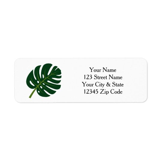 Monstera palm tree leaf return address labels