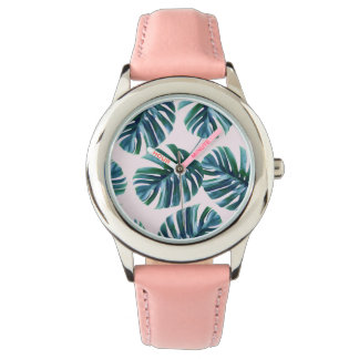 Monstera Pattern Stainless Steel Pink Watch