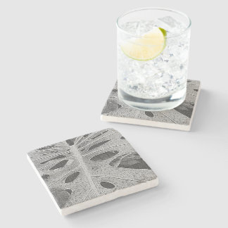 Monstera Silkscreen Stone Coaster