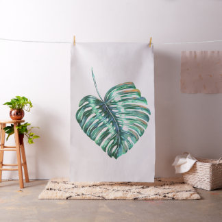 monstera tropical leaf palm modern watercolor fabric
