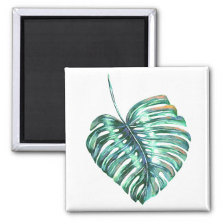 monstera tropical leaf palm modern watercolor magnet