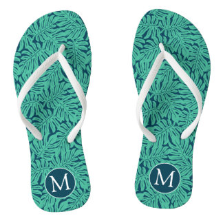 Monstera Tropical Leaf Pattern | Monogram Flip Flops