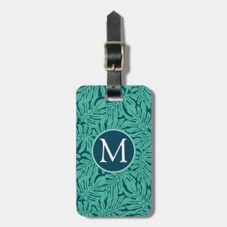 Monstera Tropical Leaf Pattern   Monogram Luggage Tag