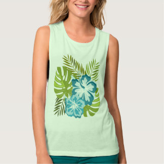 Monstera tropical leafs and hibiscu tank top