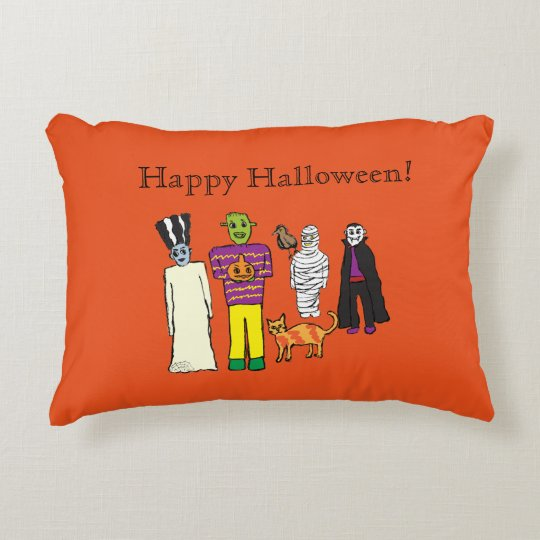 Monsters Halloween Party Accent Pillow
