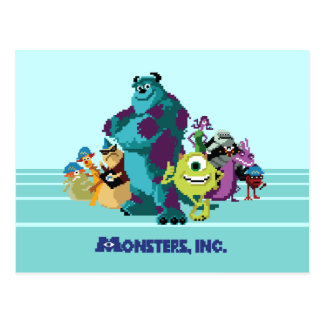 Monsters Inc 8Bit Mike, Sully, and the Gang Postcard