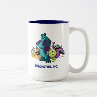 Monsters Inc 8Bit Mike, Sully, and the Gang Two-Tone Coffee Mug