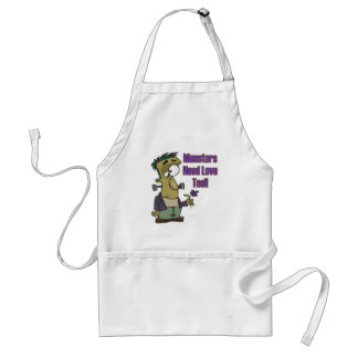 monsters need love too funny frankenstein aprons