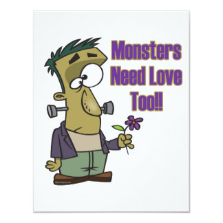 monsters need love too funny frankenstein personalized invitations