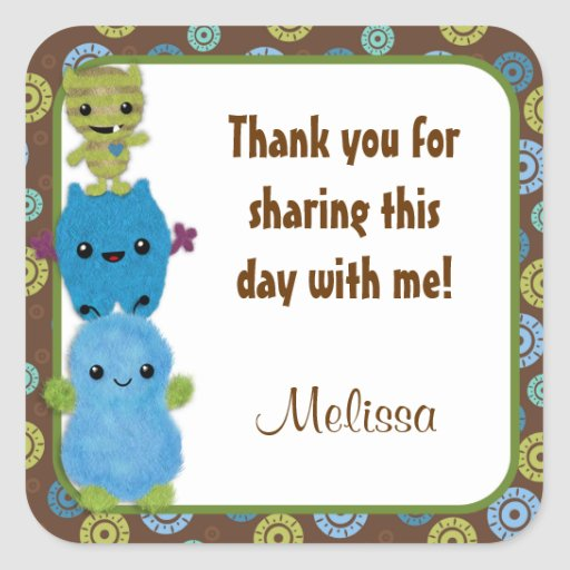 MONSTERS Peek a Boo Baby Shower square sticker PAB