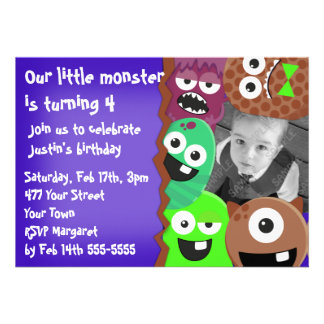 Monsters Photo Template Custom Invitations