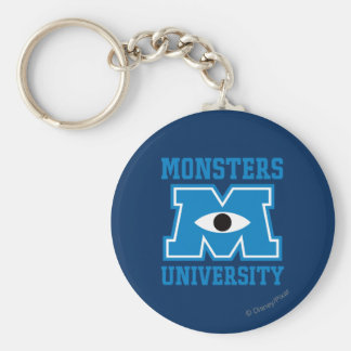 Monsters University Blue Logo Basic Round Button Keychain