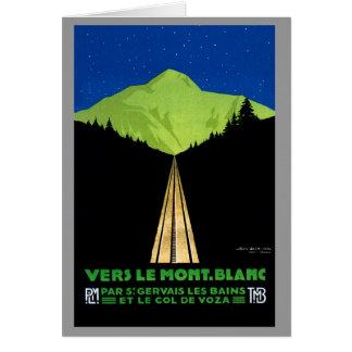 Mont Blanc Alps Vintage Travel Poster Card