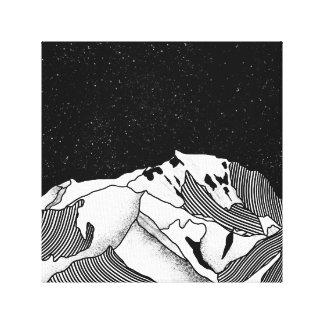 Mont Blanc black and white mountain Canvas Print