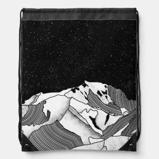 Mont Blanc black and white mountain Drawstring Bag