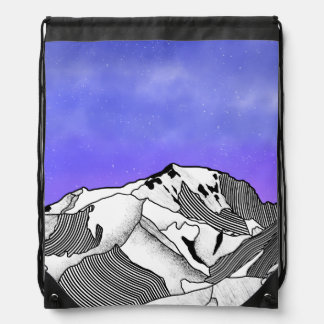 Mont Blanc evening landscape Drawstring Bag