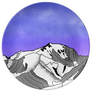 Mont Blanc evening landscape Plate