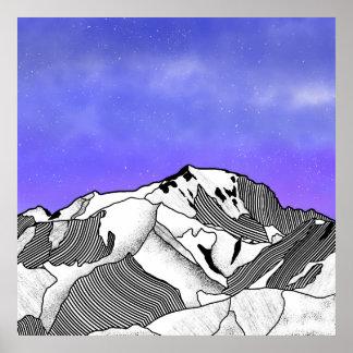 Mont Blanc evening landscape Poster