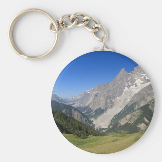 mont Blanc from Ferret valley, Italy Basic Round Button Keychain