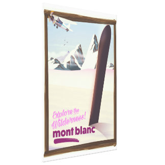mont blanc Snowboarding travel poster. Canvas Print