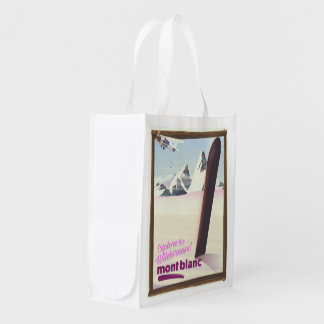 mont blanc Snowboarding travel poster. Reusable Grocery Bag