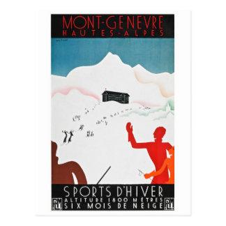 Mont Geneva Vintage Tourism Poster Postcard