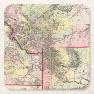 Mont, Ida, Wyo Square Paper Coaster
