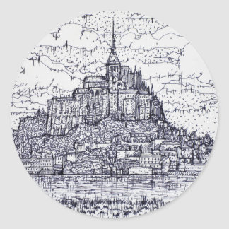 mont saint-michel classic round sticker