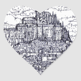 mont saint-michel heart sticker